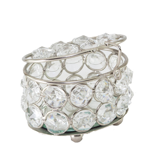 Oval Crystal Silver Jewelry Box
