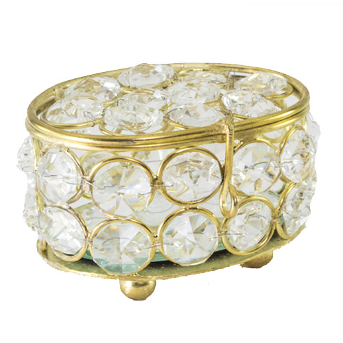 Oval Crystal Gold Jewelry Box