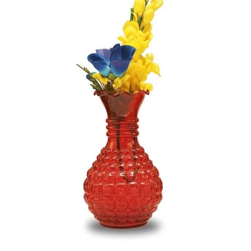 Classic Cubist Scarlet Flower Vase