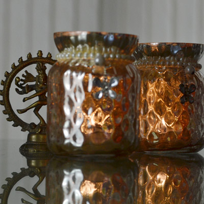 Silver Glass Jar Votive with Pearl Neck (Set of 2)