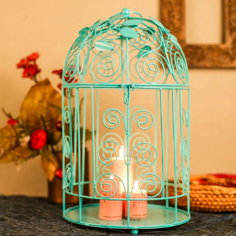 Victorian Turquoise Bird Cage with Leafy Climber