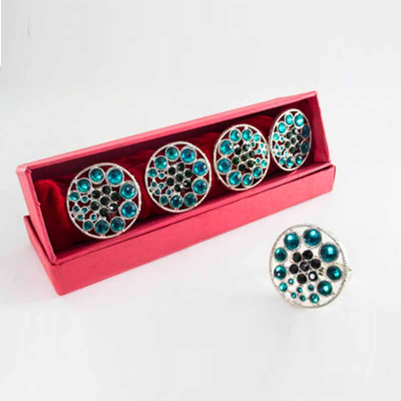 Stacked Aqua Crystal Napkin Ring (Set of 4)