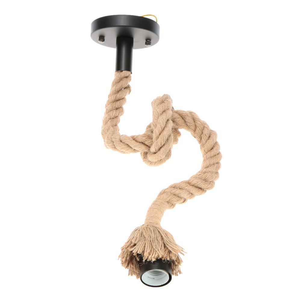 Edison Lamp Rustic Rope Hanging/Pendant Vintage Industrial Loft, E27 Holder, Decorative Cieling Light, Beige Color. 1.2 Meter (Bulb Not Included)