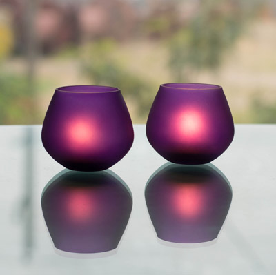 Violet Frost Pot Votive (Set of two pieces) Large