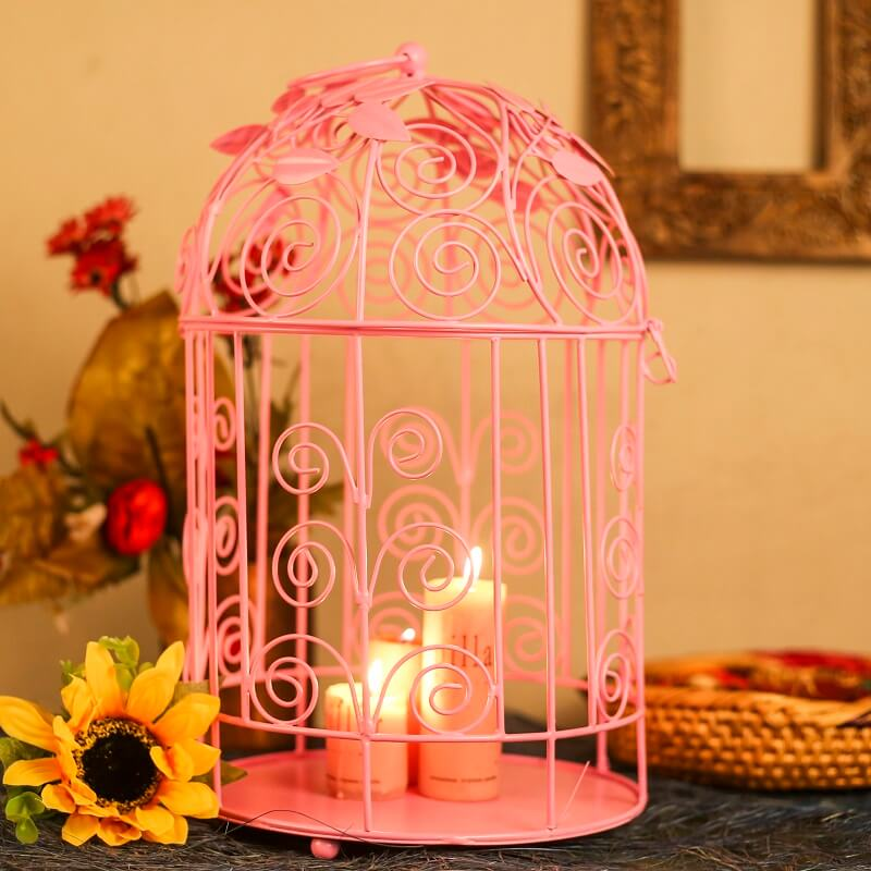 Victorian Hot Pink Bird Cage with Leafy Climber, with Hanging Chain