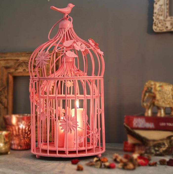 Hot Pink Bird Cage with floral vine (Set of 2), with Hanging Chain