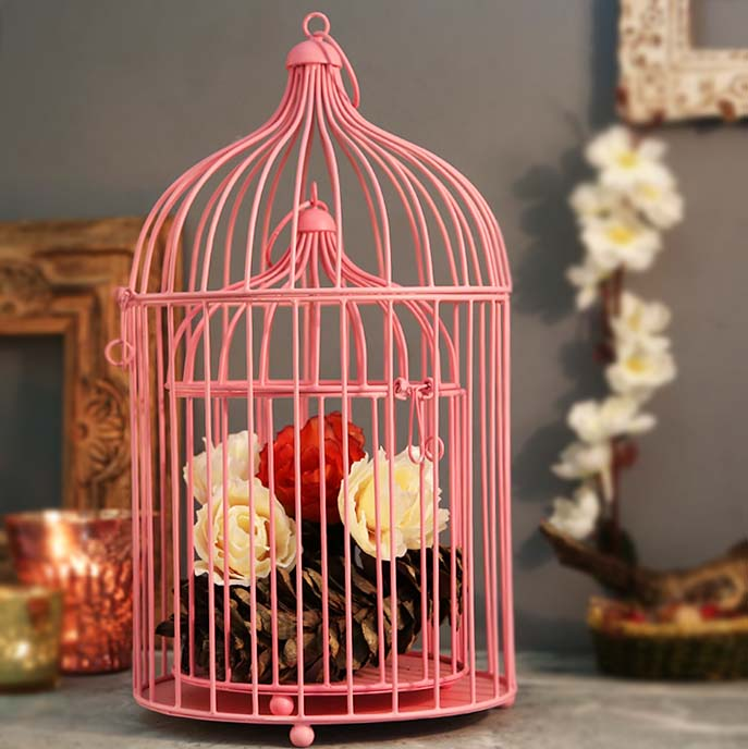 Pink Bird Cage (Set of 2), with Hanging Chain