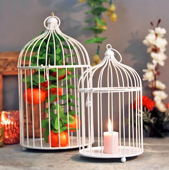 White Bird Cage (Set of 2)