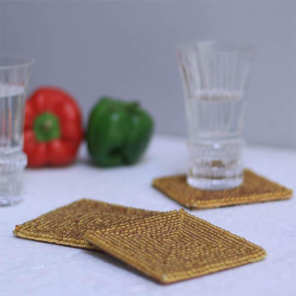 Rusty Sandy Glass Bead Coasters (4 Pc)