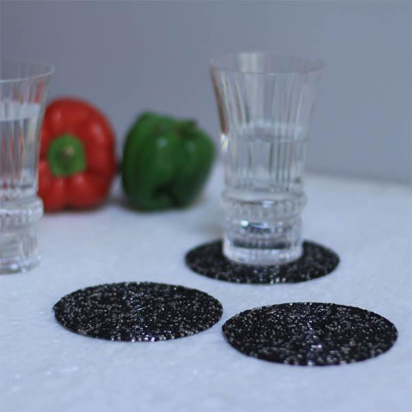 Salt-n-Pepper Spiral Bead Coaster (Set of 4)