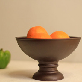 Vintage Black Wood Bowl with Stand- Small