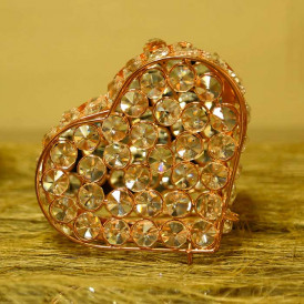 Heart Shaped Crystal Jewelry Box Copper