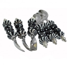 Majestic Black Glass Bead and White Polka Dots Spoon