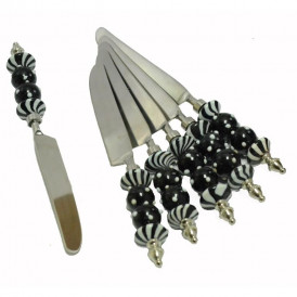 Majestic Black Glass Bead and White Polka Dots knife set