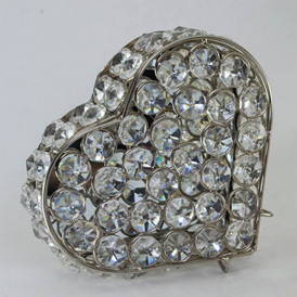 Heart Shaped Crystal Jewelry Box Silver