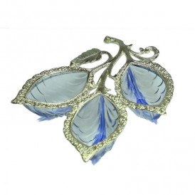 Blue-White Metal Glass 3 Leaf Serving Tray