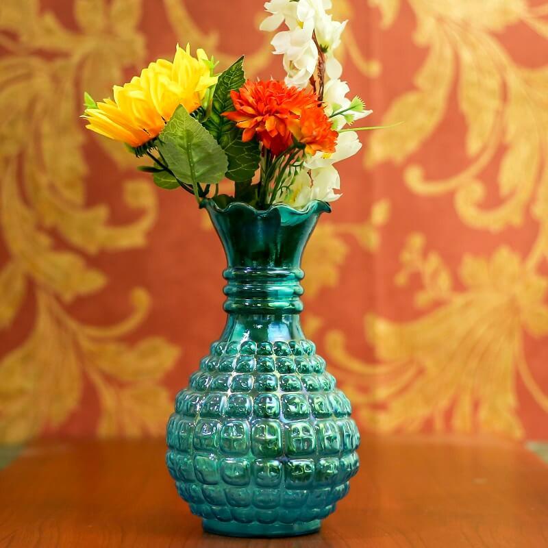 Classic Cubist Turquoise Flower Vase