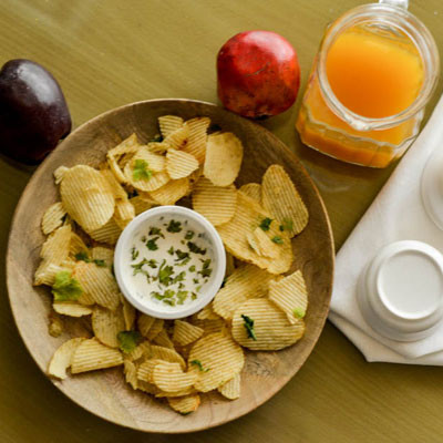 Wood Chip-n-Dip Serving Tray with Dip Bowl Large