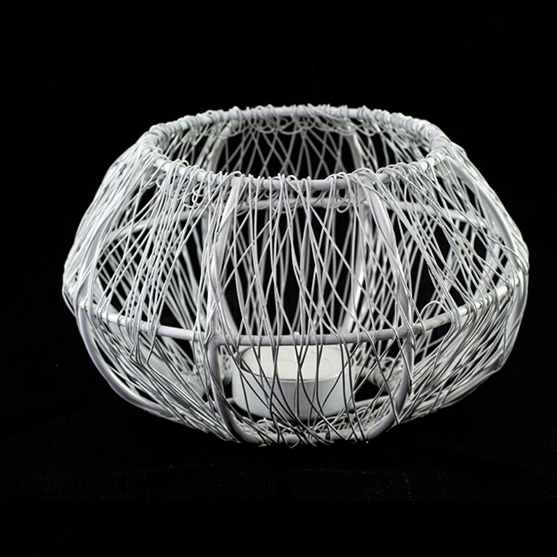 Wire Tangle Large Votive White