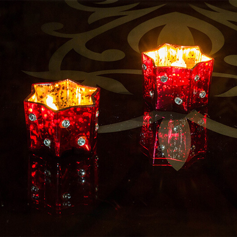 Silver Star Glass Votive-Small (Set of 2) Red