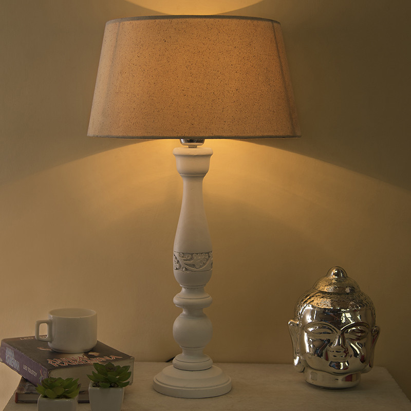 Floral Carved White Wood Table Lamp With Off-White Shade