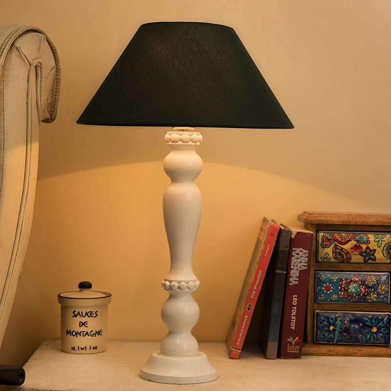 Eureka Polka White Wood Table Lamp With Green Shade