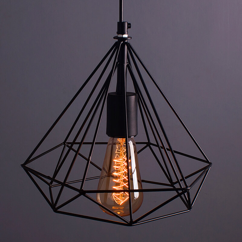 Edison Filament Hanging DIAMOND Caged, E27 Holder, Decorative, Urban Retro Style, Black Color Metal