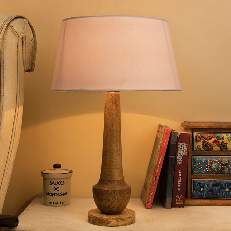 Classic Cubist Wooden Table Lamp, with White Drum Shade
