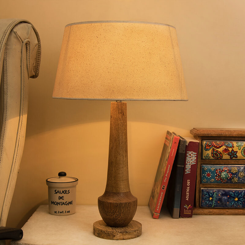 Classic Cubist Wooden Table Lamp, with Khadi Shade