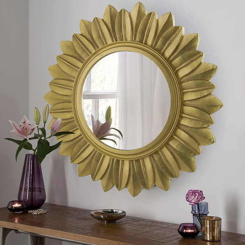 Sunburst Decorative Wooden Handcarved Wall Mirror, Royal Gold