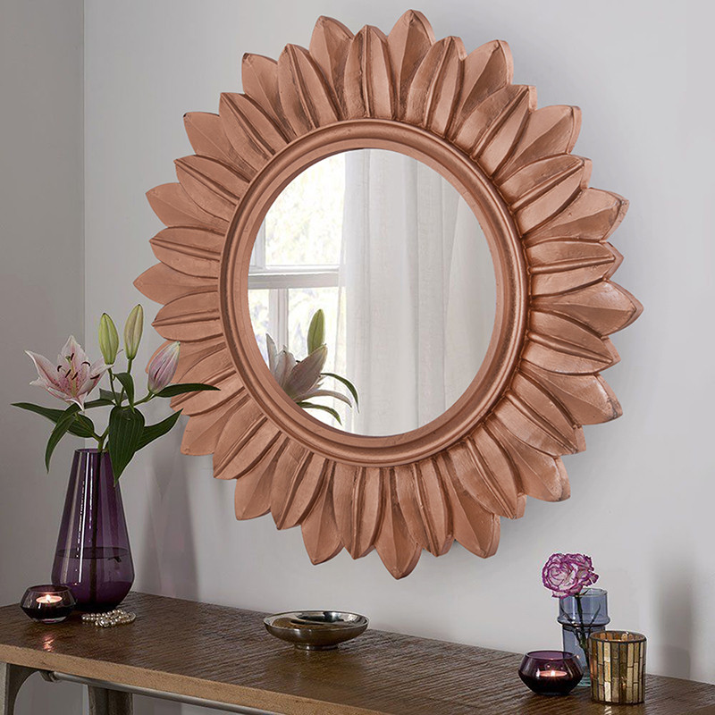Sunburst Decorative Wooden Handcarved Wall Mirror,Rustic Copper