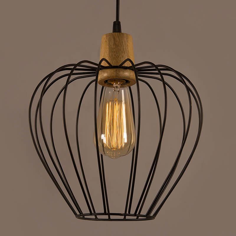 Industrial Loft Black Metal Chimney Cage Wood Art Pendant, Hanging Ceiling Lights, Edison Vintage Light