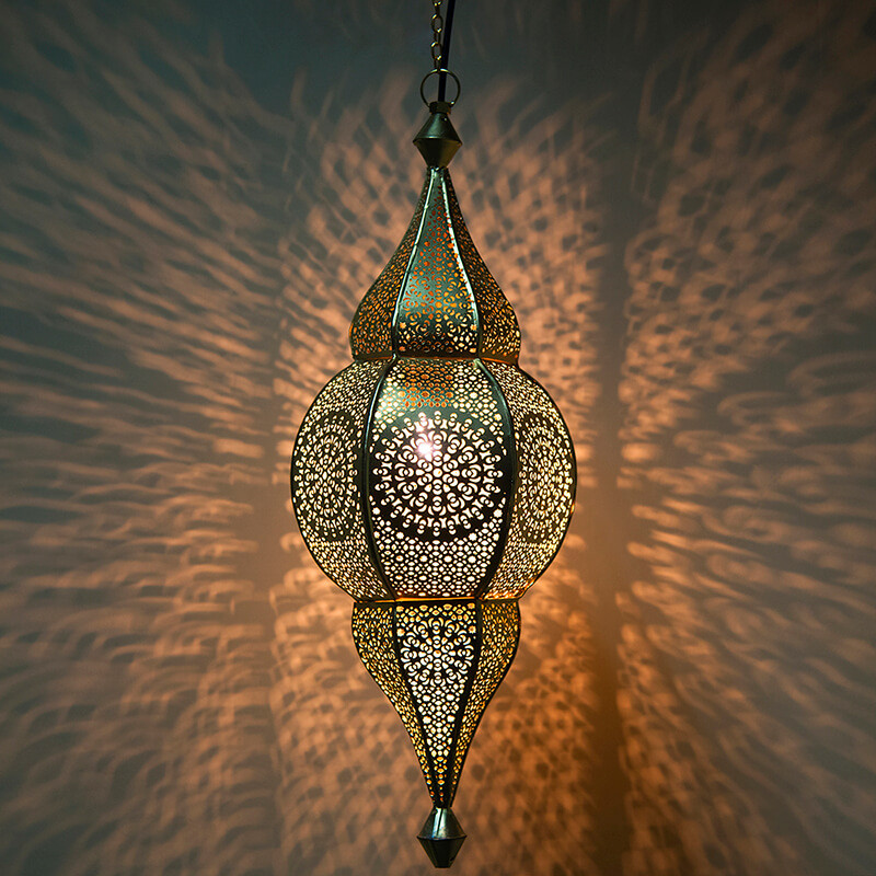 Classic Moroccan Nargis Hanging Lamp, Antique and Gold Metal Hanging Pendant Light