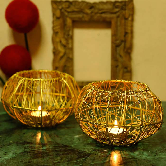 Wire Tangle Big Golden  (Set of 2 Pcs) with T-lights