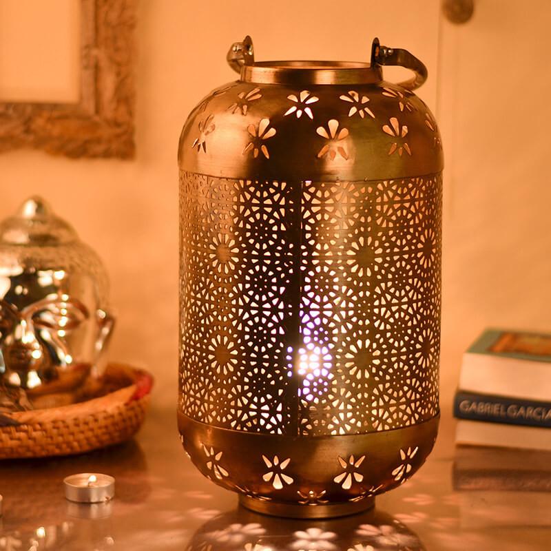 Classic Moroccan Hanging Tub Lamp Golden