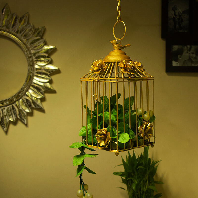 Decorative Hanging Bird Cage, Balcony/Patio Planter Cage/Hanging Candle Holder, Golden