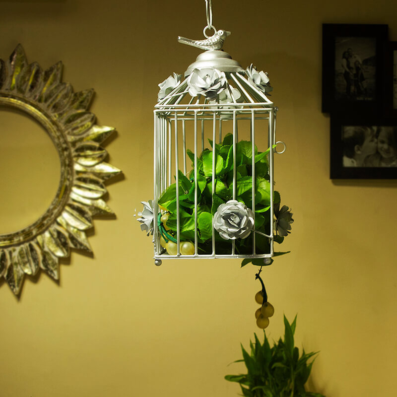 Decorative Hanging Bird Cage, Balcony/Patio Planter Cage/Hanging Candle Holder, Silver