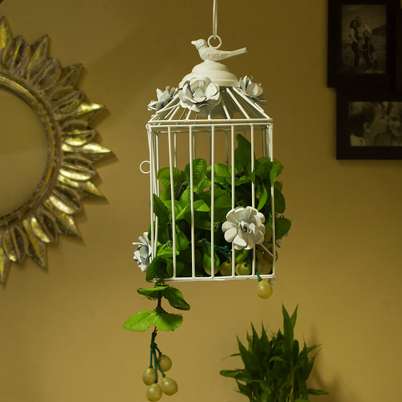 Decorative Hanging Bird Cage, Balcony/Patio Planter Cage/Hanging Candle Holder, White
