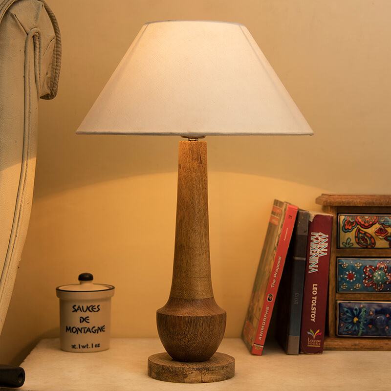 Classic Cubist Wooden Table Lamp, with White Shade