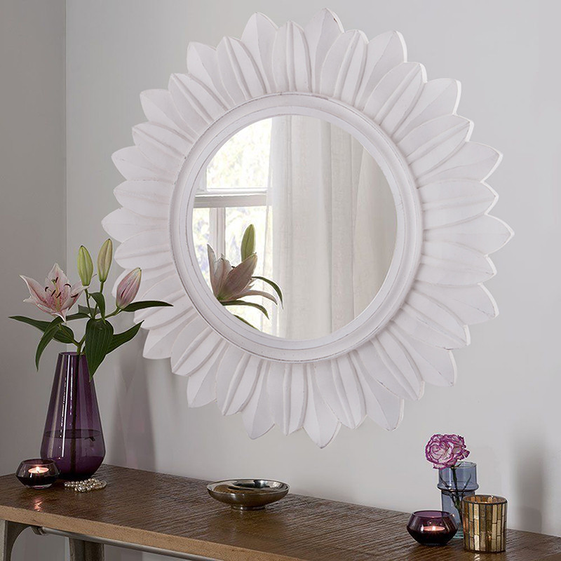 Sunburst Decorative Wooden Handcarved Wall Mirror, Classic White