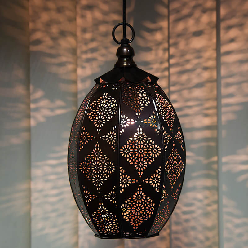 Antique Oval Moroccan Hanging Ceiling Lamp, Antique Copper Finish Hanging Pendant Light