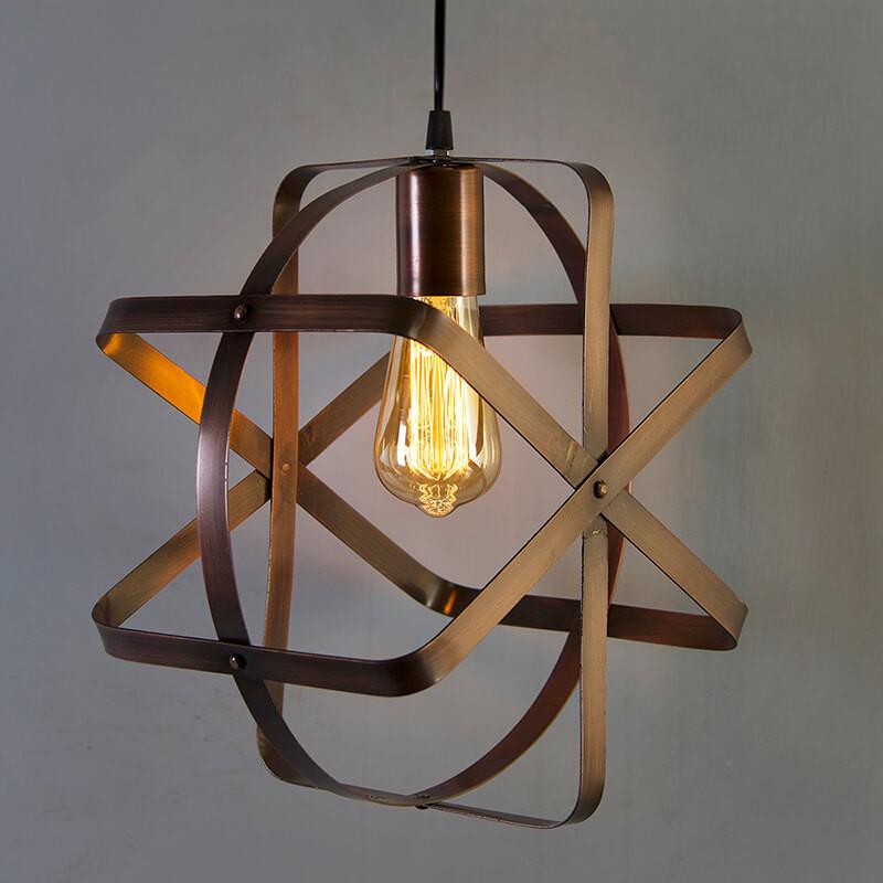 Industrial Globe Pendant Light, Vintage Metal Spherical Lantern Chandelier Ceiling Light Fixture, Antique Copper Finish, E27 Filament Edison Retro Country Style