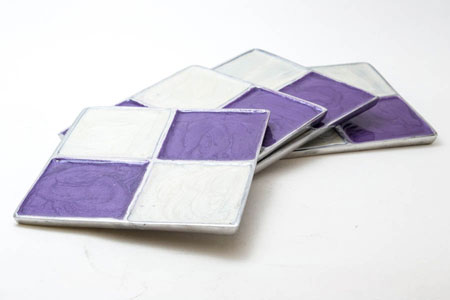 Cream-n-Lavender Square Aluminium Coaster (Set of 4 pc)