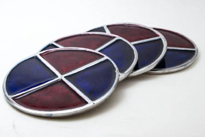 Scarlet- Azure Round Aluminium Coaster (Set of 4 pc)