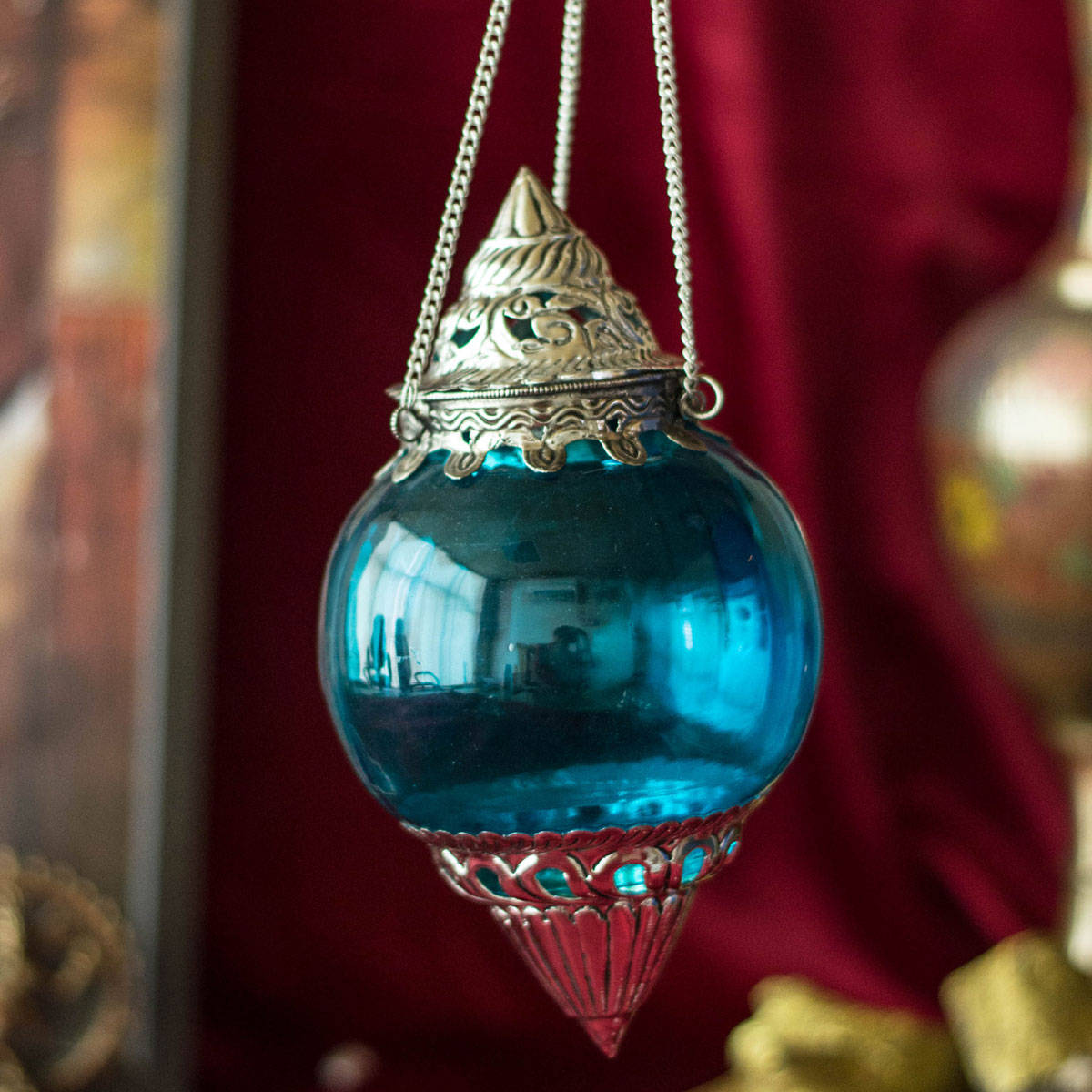 Hanging Brass Turquoise Melon T-Light Holder
