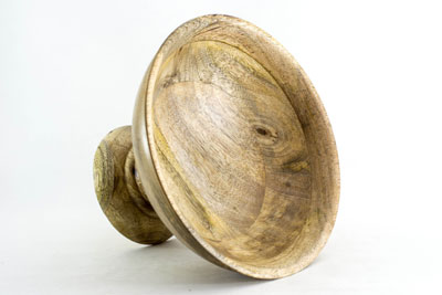 Vintage Wood Bowl with Stand-Natural