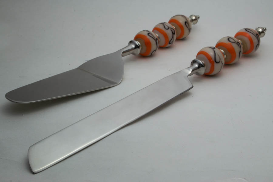 Cake Server with White Orange Glass Beads