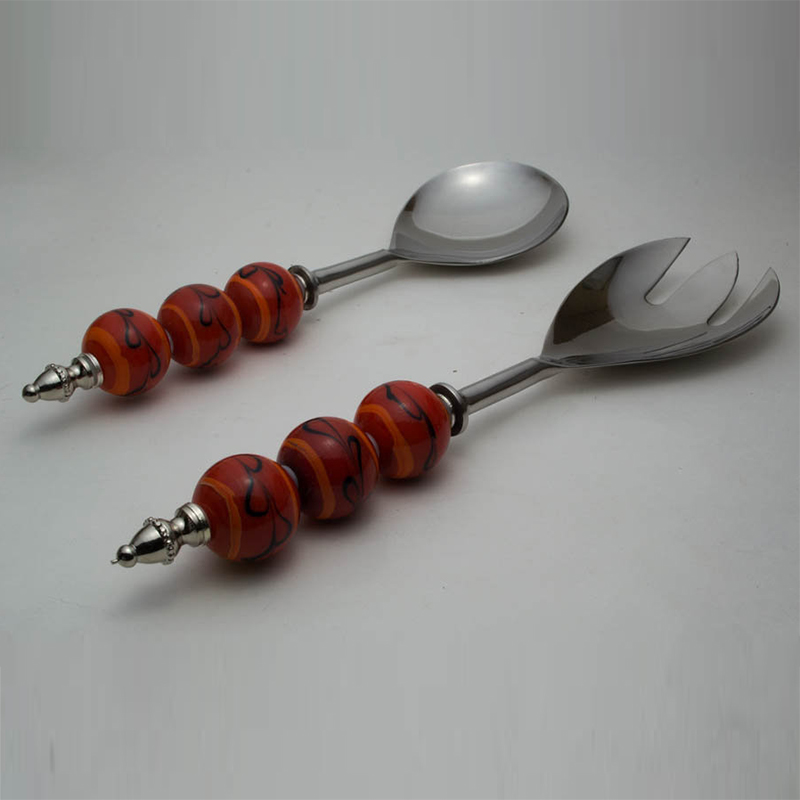 Salad Server with Orange Glass Bead handle and Black climbers