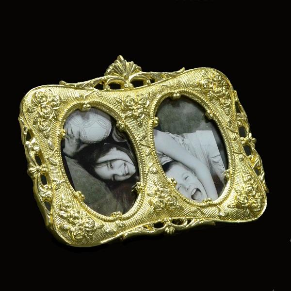 Double-Mirror Golden Rose Metal Photoframe