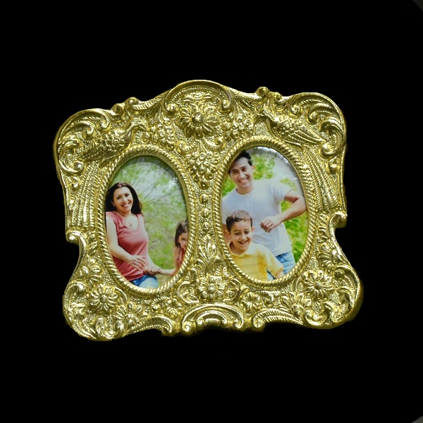 Golden Double Mirror Peacock Photoframe